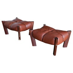 Percival Lafer Rosewood and Leather Ottomans