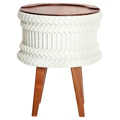 Pleated Stool or Side Table, Walnut, Ivory Pleated Fabric