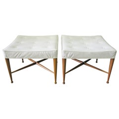 """Pair of 1950s Edward Wormley for Dunbar """"Thebes"""" Stools, Original Upholstery"""