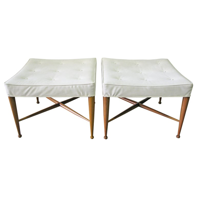 """Pair of 1950s Edward Wormley for Dunbar """"Thebes"""" Stools, Original Upholstery For Sale"""