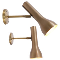 Pair of Brass Wall Spots by Lad Team for Swiss Lamps International, Zürich 1960s