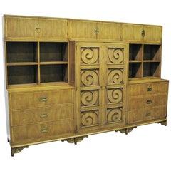 Mastercraft Furniture Vintage Hollywood Regency Nine-Piece Wall Unit