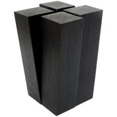 Arno Declercq Iroko Wood Four Legs Side Table or Stool