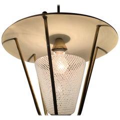 "Italian Midcentury Lantern Murano Glass ""Reticello,"" 1950s"