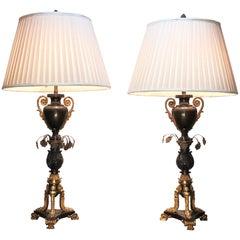 Anfang des 19. Jahrhunderts ausgestattet paar Bronze Argand Öllampen später für Strom