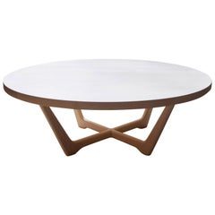 Rise Modern Coffee Table in Bleached Maple with Sculpted Base