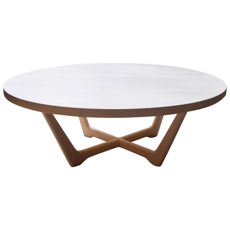 Rise Modern Coffee Table in Bleached Maple with Sculpted Base For Sale
