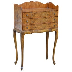 Italian Louis XV Style Three-Drawer Burl Wood Nightstand or Cabinet