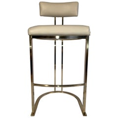 Set of Three Brass Barstools by Design Institute of America