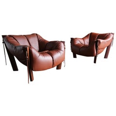 Percival Lafer Rosewood and Leather Lounge Chairs