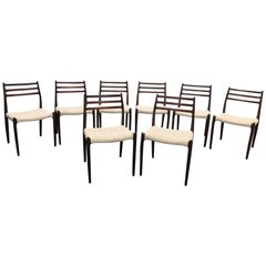 Set of Eight Niels O Moller Model 78 Dining Chairs, Denmark, 1960s