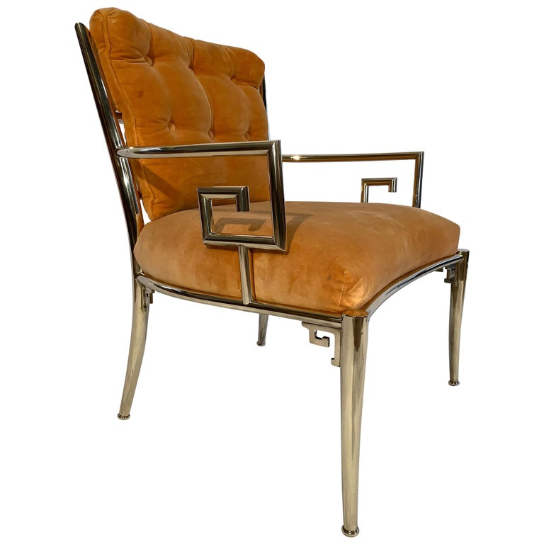 Pair Of Greek Key Armchairs In Solid Br By Mastercraft Furniture