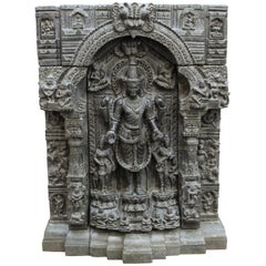 Indian Pala Stele of Gautama Buddha in Black Basalt