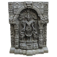 Indian Pala Style Stele of Gautama Buddha in Black Basalt