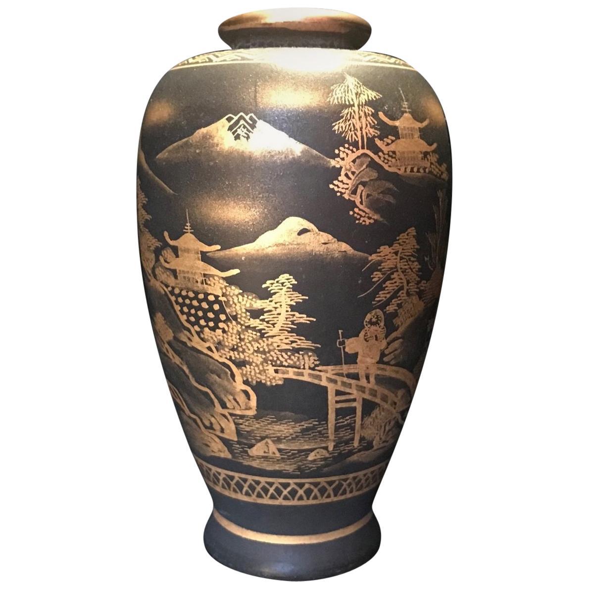 Meiji Period Japanese Satsuma Signed Miniature Gold on Black Vase
