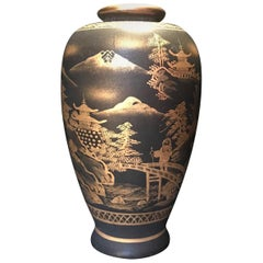 Meiji Period Japanese Satsuma Signed Miniature Gold on Black Vase
