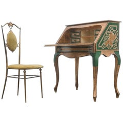 Italian Gilded and Hand Painted Wood Writing Desk Secretary, 1950s