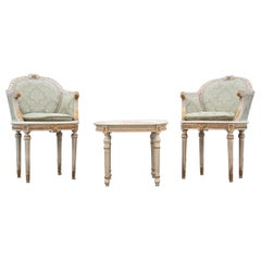 "Mid Century Italian ""Tête à Tête"" Bergères Armchairs and Table"