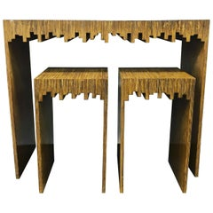 Modern Console Table and Two Drink Tables/ Stools