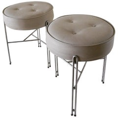 Pair of Linha Upholstered Stool in Gray Leather