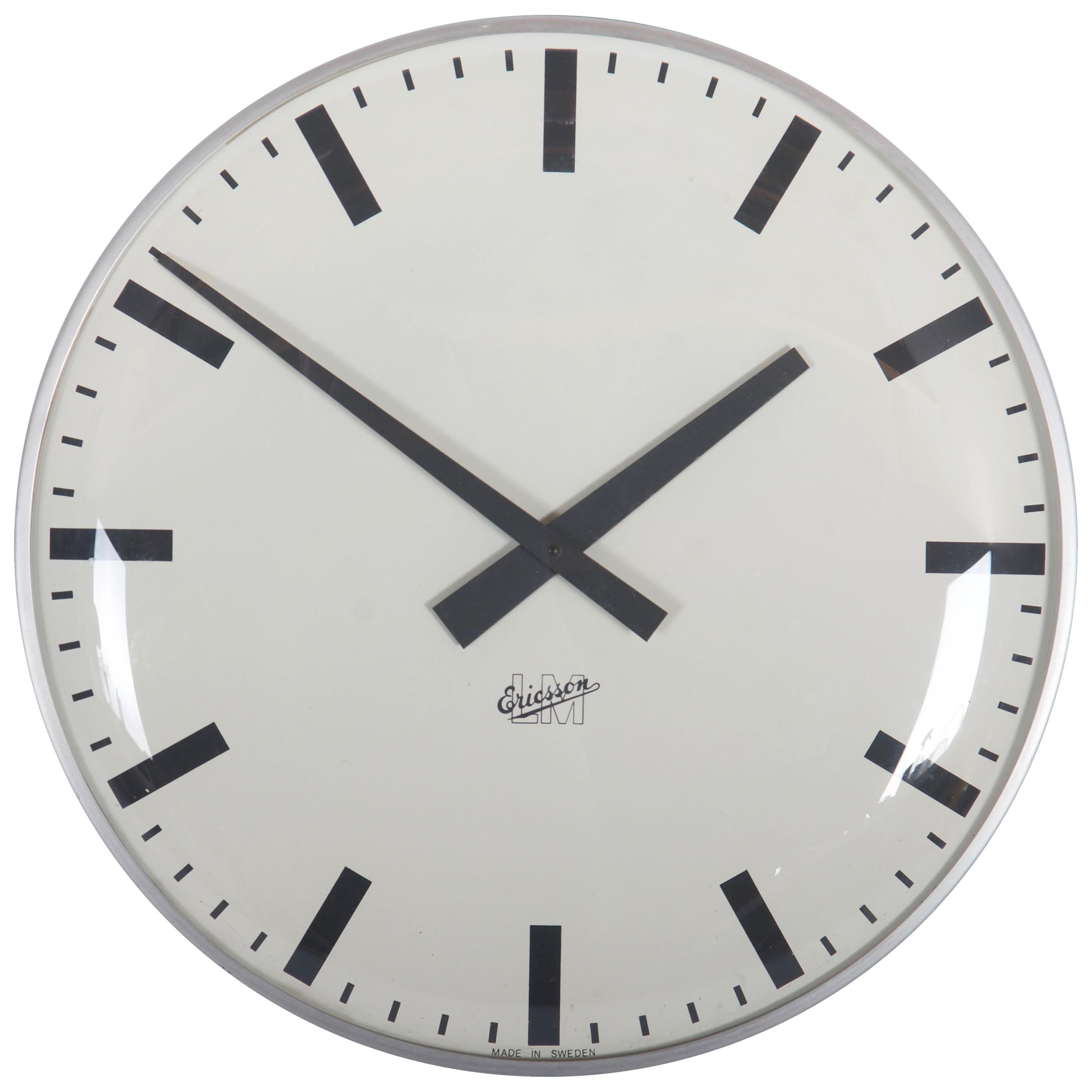 Large Midcentury Wall Clock by LM Ericsson
