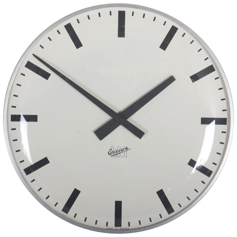 Large Midcentury Wall Clock by LM Ericsson For Sale
