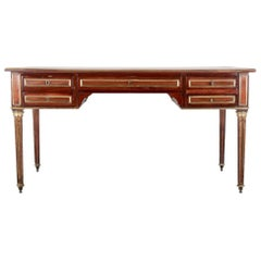 19th Century French Napoleon III Mahogany Desk Bureau Plat