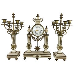 French Portico Clock Set White Marble, Brass, circa 1900, Running