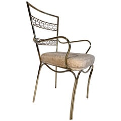Italian Single Brass Petite Side Chair