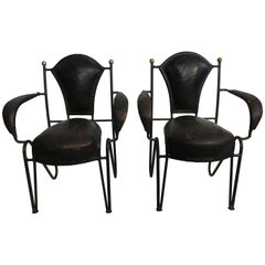 Pair of Leather and Iron Children's Armchairs