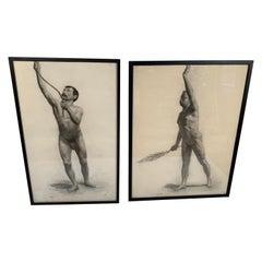 Male Nude Drawing by Hermanus Schellenberg, 1923