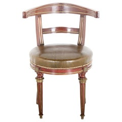 French Empire Napoleon III Mahogany and Leather Desk Chair