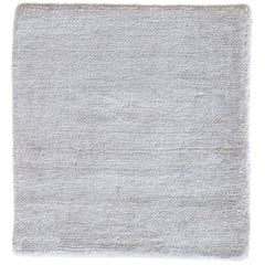 White Contemporary Bamboo Silk Hand Woven Rug
