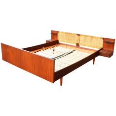 Hans Wegner for GETAMA Danish Modern Teak and Cane Queen Size Platform Bed