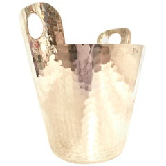 20th Century Modern Italian Hammered Silver Plate Champagne Bucket by Calegro