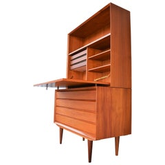 Practical Danish Teak Secretary / Dresser / Home Office with Tons of Storage