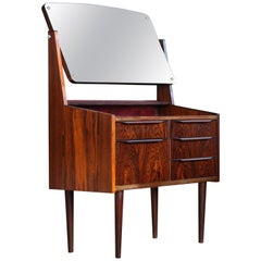 Danish Midcentury Vanity or Dressing Table in Rosewood with Mirror and Drawers
