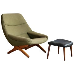 Model ML91 Lounge Chair and Ottoman by Illum Wikkelsø for Mikael Laursen, 1960s