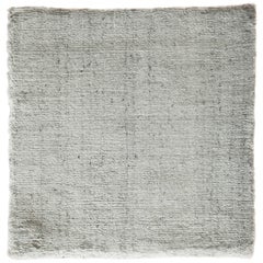 Modernist White Bamboo Silk Hand-Loomed Solid Rug with Silver Tone