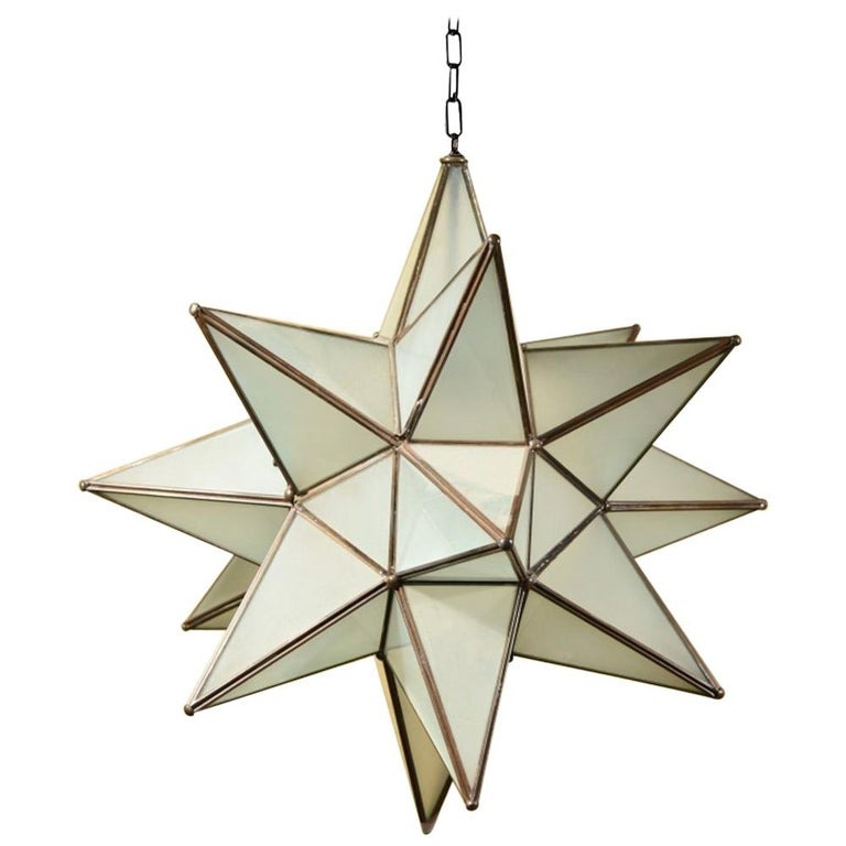 Very Large Frosted Gl Moravian Star Lighting Fixture At