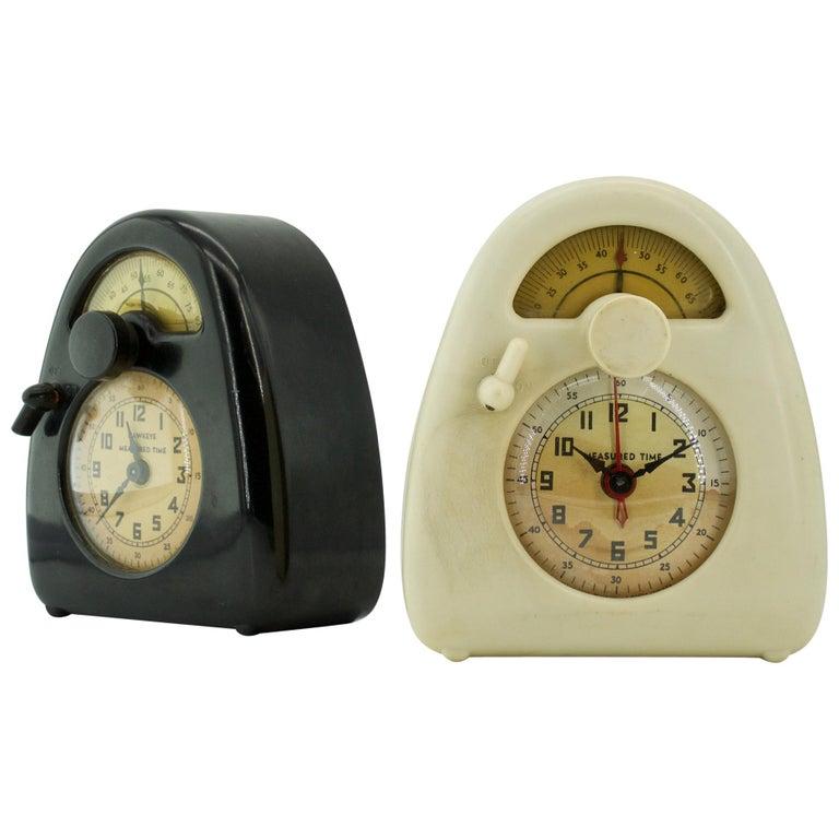 Pair Isamu Noguchi Black+White Bakelite Train Clock Art Deco Industrial Design For Sale
