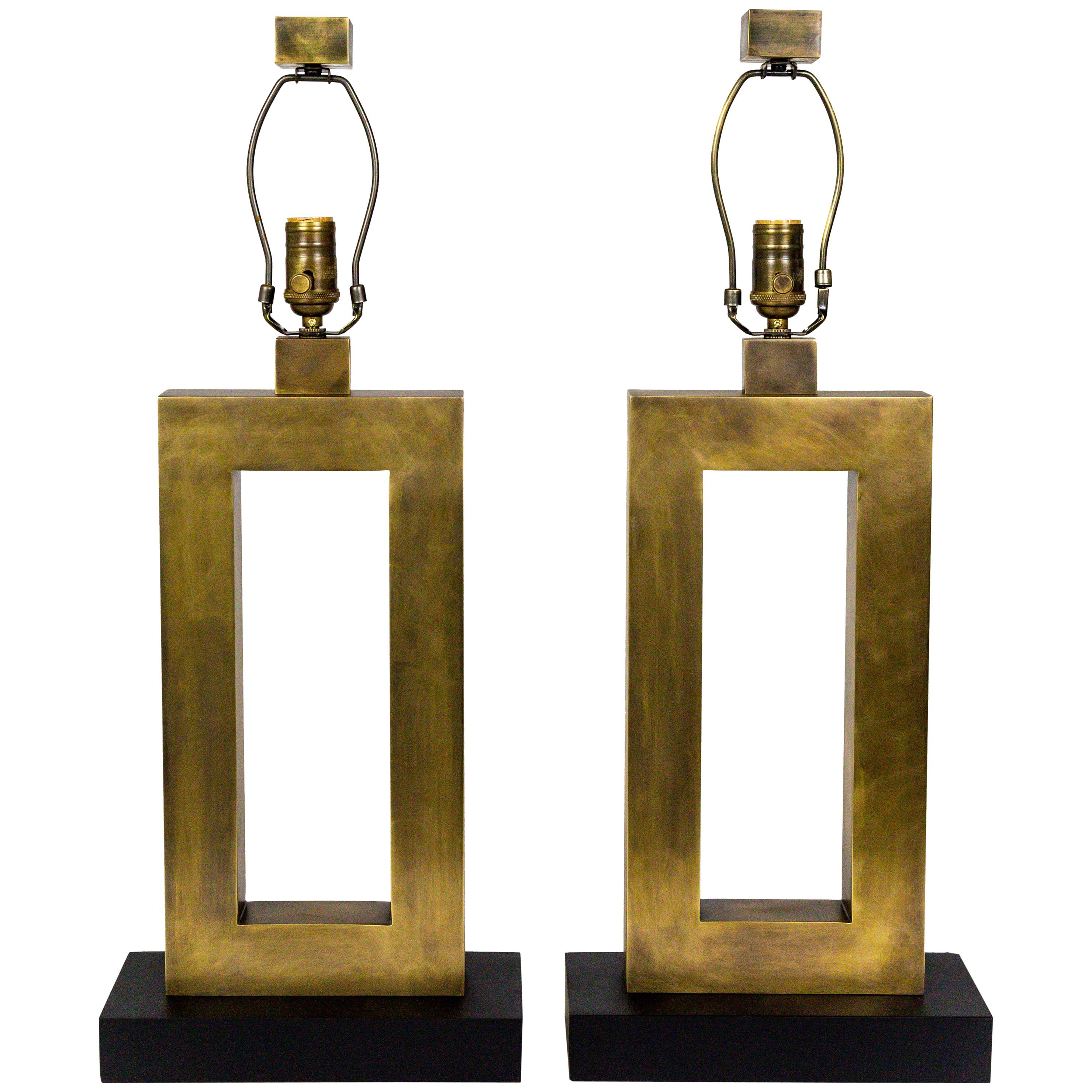 Rectangular Antiqued Brass Table Lamps, 'Pair'