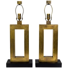 Rectangular Antiqued Brass Table Lamps, 'Pair'