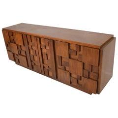 Milo Baughman Mid-Century Modern Brutalist Dresser, Lane Patchwork Walnut Tiles