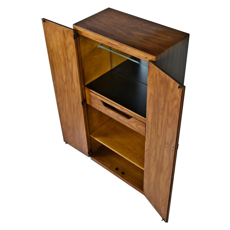 Campaign Style Drexel Heritage Consensus Pecan Illuminated Bar Cabinet 1970s For Sale At 1stdibs