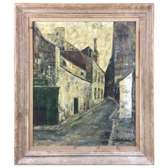 Midcentury Paris Street Scene Oil on Canvas Signed Robert Soler, circa 1955