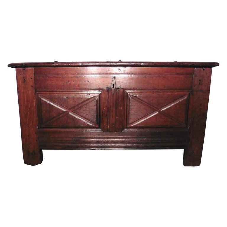 Heavy French Paneled Oak Coffer, 1800 For Sale