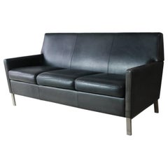 1970s Danish Midcentury Leather Sofa with Brushed Steel Legs