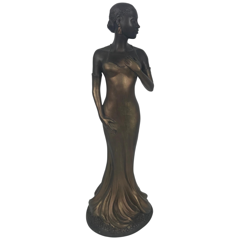 Art Deco Style Sculpture, Ecila 'Jazz Singer' Elegant Female