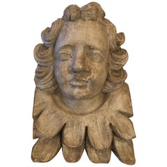 Romantic French Carved Wood Wall Sculpture of Cherub's Face